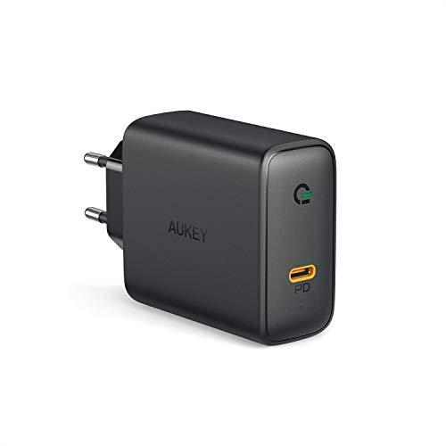 """AUKEY USB C Chargeur doté de GaN, Chargeur Mural USB avec 60W Power Delivery 3.0, Compatible avec MacBook Pro 13"""", iPhone 11 Pro/ 11 Pro Max, Dell XPS 13, HP Spectre, Lenevo Thinkpad, Nintendo Switch"""