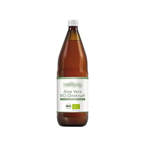100% Aloe Vera Saft, Bio Direktsaft, Aloe Barbadensis Miller, 100% Innenfilet, handfiletiert, 1.000 ml Flasche enthält 1200mg/Liter Aloverose (1)
