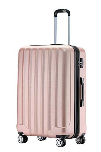 BEIBYE TSA-Schloß 2080 Hangepäck Zwillingsrollen neu Reisekoffer Koffer Trolley Hartschale Set-XL-L-M(Boardcase) (Rosa Gold, L)