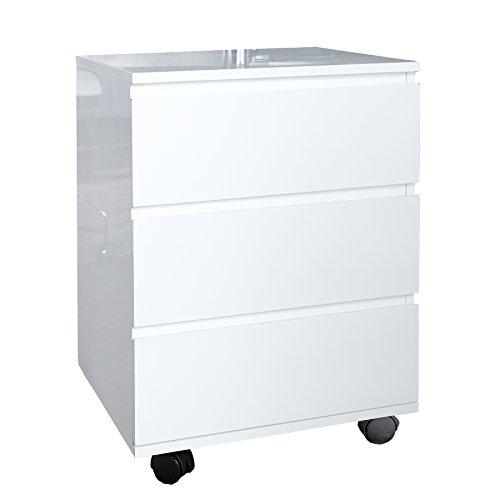 Invicta Interior Moderner Rollcontainer Big Deal Hochglanz Weiss 3 Schubladen Schrank Büroschrank