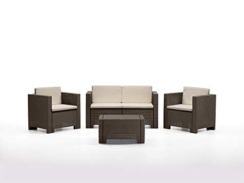 Bica 9017.4 Set Salottino Colorado 4 Posti 119x64x57 cm, Marrone, 279x155x64 cm