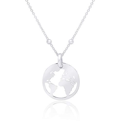 WANDA PLATA Collier Mappemonde Pendentif Planète Terre Globe Monde pour...