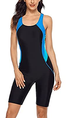 Athletic swimsuit in knee boyleg design provides a modest look and with lining for a comfy touch to skin Sporty one piece swimwear wirefree padded bras offers slight support and shaping Athletic one piece racerback swimsuit with wide shoulder straps ...