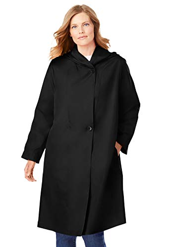Woman Within Women's Plus Size Packable Hooded Raincoat - 20 W, Black