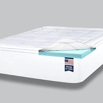ViscoSoft 4 Inch Pillow Top Memory Foam Mattress Topper Twin XL - Made in USA - Extra Long Serene Lux Dual Layer Mattress Pad