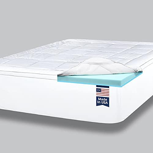 ViscoSoft 4 Inch Pillow Top Gel Memory Foam Mattress Topper Twin XL - Made in USA - Serene Dual Layer Mattress Pad Extra Long