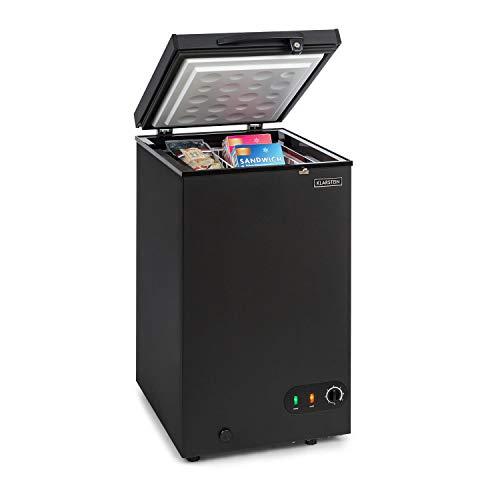 Klarstein Iceblokk 80 - Freezer a Pozzetto, 78 Litri, Ghiacciaia, Classe F, Cestello Estraibile, Capacit: 4 kg / 24 h, Serratura, Compatto, Nero Opaco