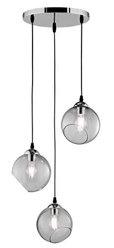 Reality Leuchten - Lampadario a sospensione Clooney in metallo cromato e vetro 1 x E27. Lampadario a...