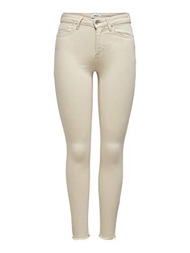 ONLY Damen ONLBLUSH MID SK ANKRAW COL Life PNT NOOS Jeans, Ecru, 32 cm...