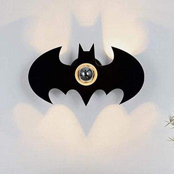 Waqihreu Appliques murales à Effet d'ombre d'intérieur Modernes, éclairage Mural créatif de Batman de Bande dessinée pour Le Salon décoratif E27 Lampe de Chevet de Chambre d'enfants