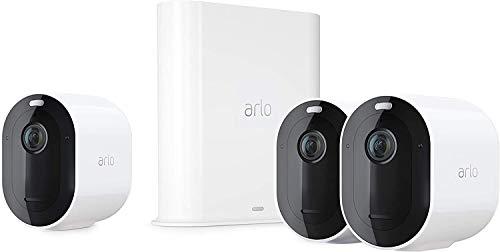 Arlo Pro3 VMS4340P Sistema di Videosorveglianza Wi-Fi con 3 Telecamere 2K HDR, Audio 2 Vie, Visione Notturna a Colori, Faro e Sirena Integrati, Visione 160°, Interno/Esterno, Bianco