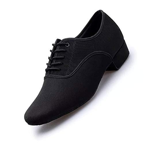 LPZ Zapatos de Baile Latino Zapatos de Cuero Transpirables y Transpirables Zapatos de Baile Modernos Zapatos Latinos para Hombres Salón de Baile, Tango, vals vienés (Color : Negro, Tamaño : 39 EU)