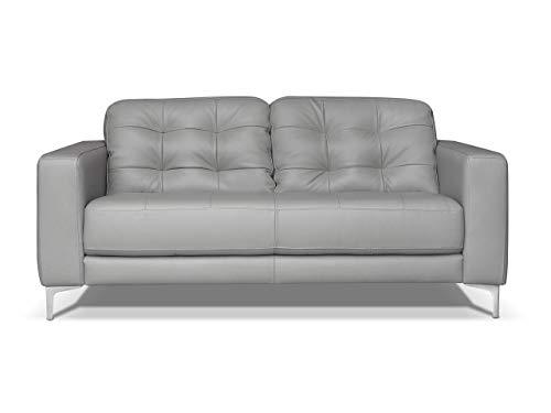 Marchio Amazon -Alkove, divano in pelle modello Holt, stile moderno, 2 posti, colore grigio chiaro