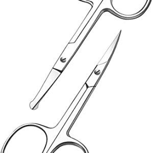 Curved and Rounded Facial Hair Scissors for Men - Mustache, Nose Hair & Beard Trimming Scissors,...