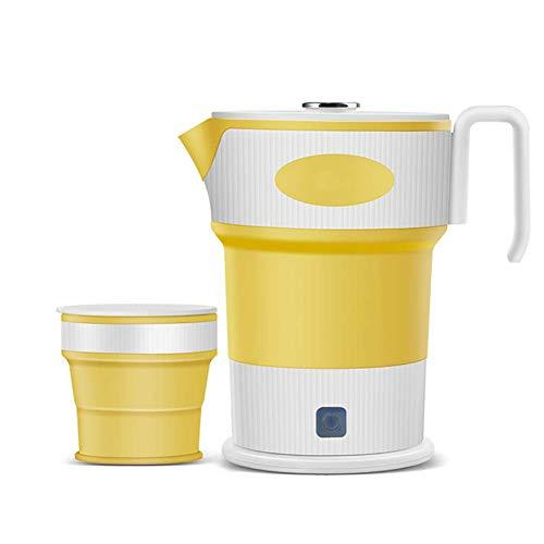 AKL 0.6 Qt Faltbarer Reisewasserkocher, Dual Voltage & Tragbar Wasserkocher, Mini & Schnell Kochend, Trockenschutz, Lebensmittelgeeignet, BPA-frei, 110-220V. (600W),Gelb