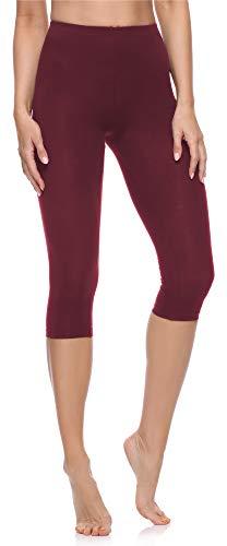 Merry Style Leggings 3/4 Pantaloni Capri Donna MS10-199 (Rosso Vinaccia, M)