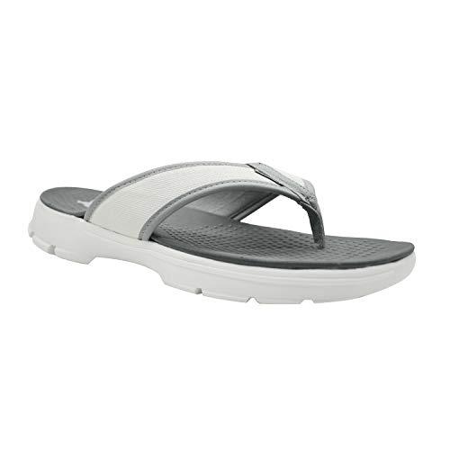 XXIV KazarMax Men's' White Grey Memory Foam EVA Thong Slippers/Flip-Flop (Made in India) {Size : 9}