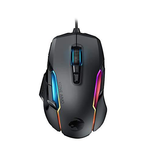 Roccat Kone AIMO Gaming Maus (hohe Präzision, Optischer Owl-Eye Sensor (100 bis 16.000 Dpi), RGB AIMO LED Beleuchtung, 23 programmierbare Tasten, Designt in Deutschland, USB), schwarz(remastered)