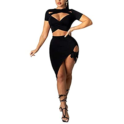 MATERIAL - Polyester, Soft fabric and Comfortable to touch,stretchy,not see through DESIGN - Sexy two piece outfits, Slim club wear clubwear, Sexy cutout, Short sleeve, Hollow out SIZE - Please check seller size chart before order and choose the righ...
