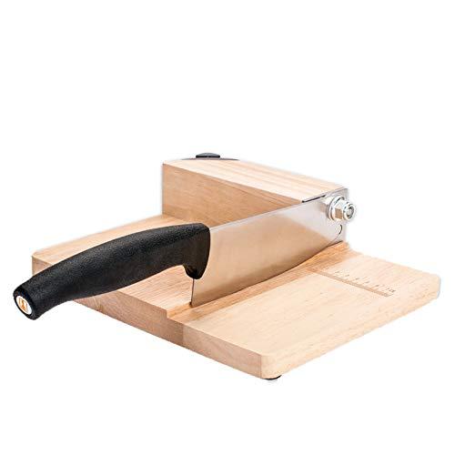ANHPI,Famiglia Piccolo Manuale Affettatrice in Legno di Rovere,meccanismo di Bloccaggio in Acciaio Inox con Pietra per Affilare Carburo,Woodcolor