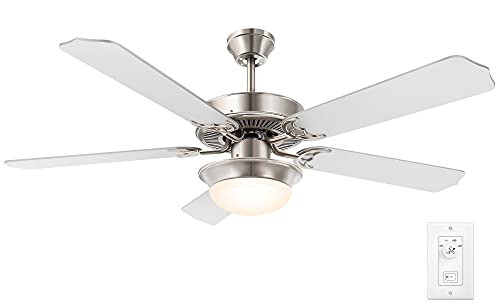 52 Inch Modern Indoor Ceiling Fan with Light, Brushed Nickel Ceiling Fans with Quiet Reversible Motor, 5 Blades for Living room, Bedroom, Basement, Kitchen, Wall Control, 2 LED Bulbs Included, Silver