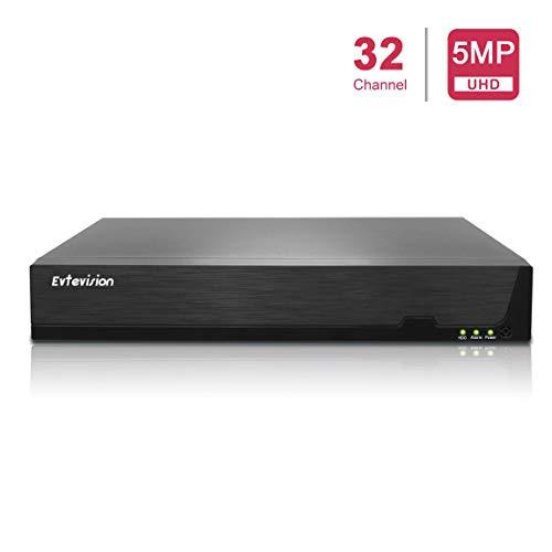 Evtevision 8 Canali 4K/25CH 5MP/32CH 1080P Videoregistratore di rete H.265 CCTV NVR Onvif Protocollo,Supporto P2P Accesso remoto cloud, Registrazione rilevamento movimento, Uscita 4K (No disco fisso)