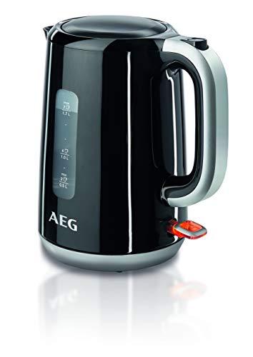 AEG EWA3700 AEG - Hervidor eléctrico, 3000 vatios, 1,5 litros, indicador de nivel de agua en ambos lados, filtro y boquilla desmontable, desconexión automática, sin BPA, Negro