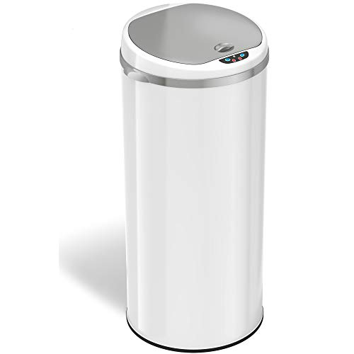 iTouchless 13 Gallon Touchless Sensor Trash Can with Odor Filter System, Round White Steel Garbage Bin, Perfect for Home, Kitchen, Office