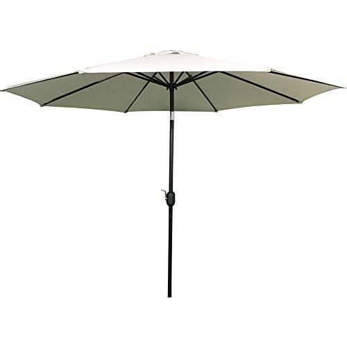 UISEBRT 300cm Sonnenschirm Alu Neigbar mit Handkurbel UV Schutz 40+ - Dunkelgrau Gartenschirm Terrassenschirm Marktschirm für Balkon, Garten, Terrasse (300cm, Beige)