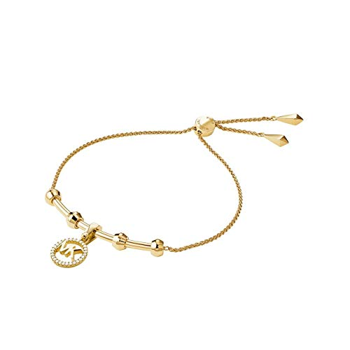 Michael Kors Precious Metal-Plated Sterling Silver Starter Slider Bracelet with Logo Charm Gold One Size