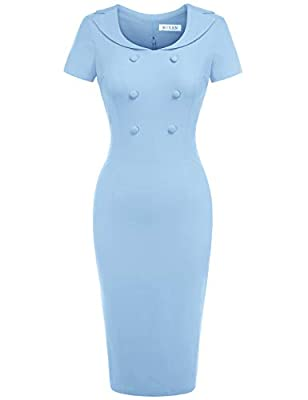 Classic Vintage Ruched Desgin,Cute Scoop Neck,Sheath Waist,Below the Knee Dress Comfy Little Stretchy Fabric,with a Hidden Zipper at the back This dress is absolutely amazing and it fits your curves perfectly Great for Formal,Wedding Bridesmaid,Eveni...