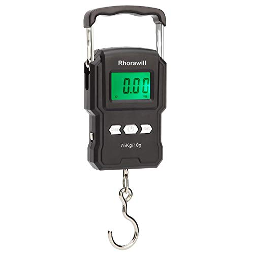 Rhorawill Fishing Scale, 165lb/75kg Digital Hanging Hook Scale with Ruler Measuring Tape, Temperature, Backlit LCD Display, and 2 AAA Batteries for Home and Outdoor