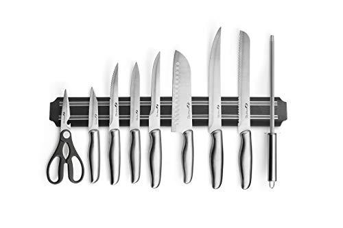 MAGNANI Set coltelli Professionali da Cucina, coltelli Fatti a Mano in Acciaio Inox, Completi di Custodia e Banda Magnetica per Fissaggio al Muro, 9 Pezzi