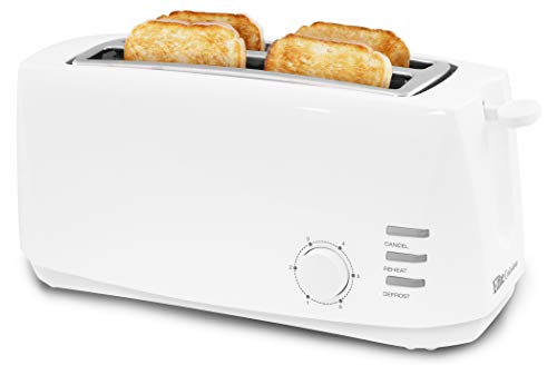Elite Gourmet Long Cool Touch 4 Extra Wide 1.25' Slots for Bagels 2-Slice Multi-Function Radio Toaster, White