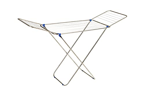 Étendoir à linge pliable de sol avec ailes en inox, surface d'étendage de 18 m, pliable et antidérapant, pour intérieur et extérieur, 52 x 180 x 106 cm (PELICANO)