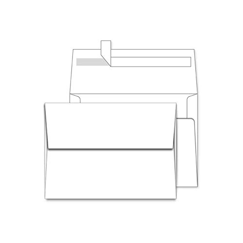 A7 White Envelopes 5X7 50 Pack - Quick Self Seal,Square Flap¡ê?for 5x7 Cards  Perfect for Weddings, Invitations, Photos, Graduation, Baby Shower, Stationery for General, Office   5.25 x 7.25 inches
