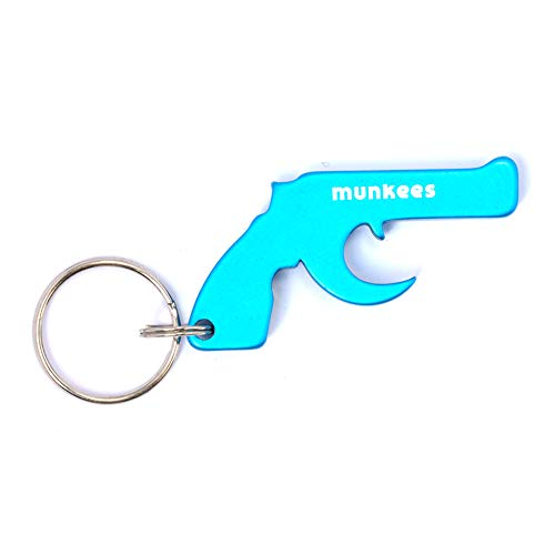 munkees Pistola de Llavero con abridor de Botellas de Aluminio, Anillo dominante, Azul, 34706