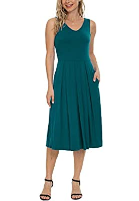 Features : Sleeveless tank midi dress,below knee length,V-neck,Elastic Waist,Loose Swing pleated dress with 2 side pockets,form fitting on top and looser from the waist down, roomy fit for your belly bump and hips. Premium Fabrics: 95% Rayon+ 5% Span...