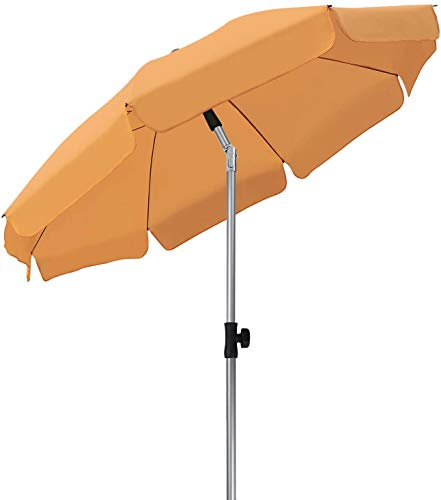 MVPower Sonnenschirm, 200 cm Sonnenschirme rund knickbar, Marktschirm UV-Schutz UPF 50+, Regenfest Gartenschirm, Terrassenschirm, Sonnenschutz für Garten, Balkon und Terrasse, 200 g/m², Orange