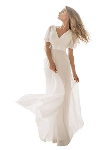Ever-Pretty Damen Abendkleid Frau A-Linie Brautjungfernkleid V Ausschnitt Hochzeit lang Weiß 44