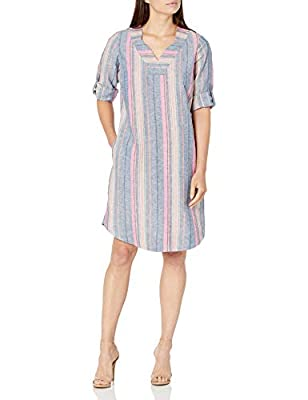 "Pullover dress Notched v-neck Side seam pockets ¾ rolled tab sleeve 38"" center back length on a size 8"