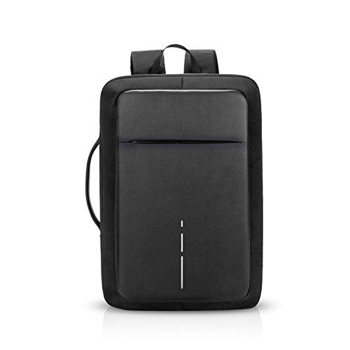 FANDARE 3 in 1 Zaino USB Zaini PC Portatile 15.6 Pollici Antifurto Zainetto Impermeabile Borsa a tracolla Uomo per Università Business Viaggio Scuola Borsetta Lavoro Ufficio Nero