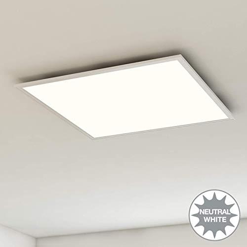 Briloner Leuchten Deckenleuchte-Panel, LED, Wohnzimmer-Lampe, Deckenlampe, Deckenstrahler, 38W, quadratisch, weiß, 59.5 cm
