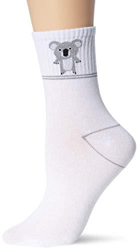 Vero Moda VMFRUITY Ancle Socks Calzini, Bianco Neve/Dettaglio: Koala, Taglia unica Donna