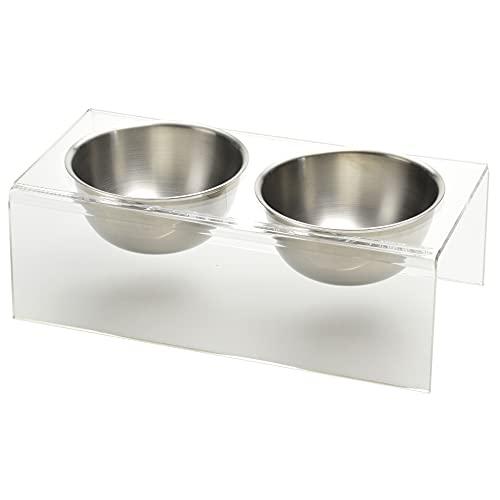 アクリル ペットフードボウルスタンド ステンレス フードボウル 2個セット ペット用 犬猫用 食器台 クリア