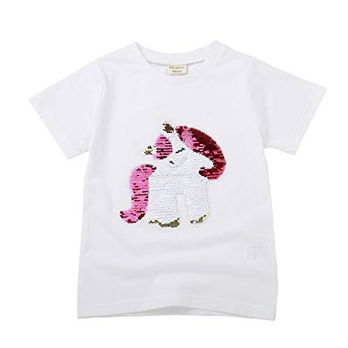 AnAn Lucky Camiseta de Lentejuelas Unicornio para niña de 3-11 años (110, TDJS-W02)