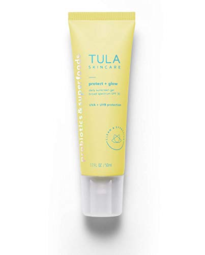 TULA Probiotic Skin Care Protect + Glow Daily Sunscreen Gel Broad Spectrum SPF 30   Skincare-First, Non-Greasy, Non-Comedogenic & Reef-Safe with Pollution & Blue Light Protection   1.7 fl. oz. 1