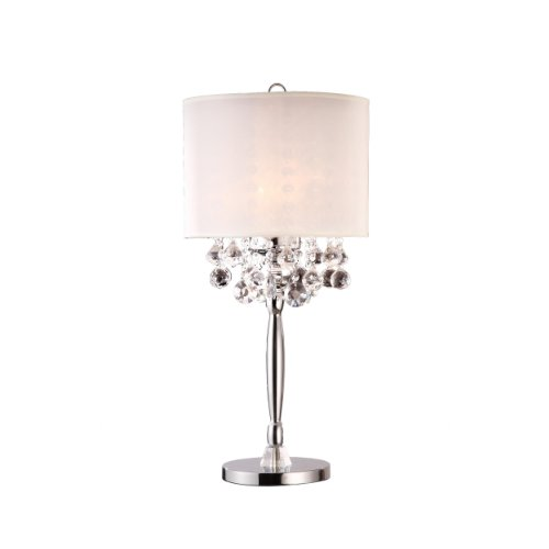 OK-5110T 30-Inch Crystal Silver Table Lamp