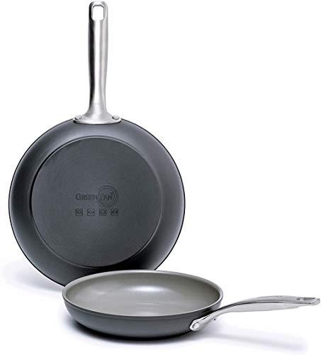 "GreenPan Chatham Ceramic Non-Stick Open Frypan Set, 8"" and 10"", Grey - CC000125-001"