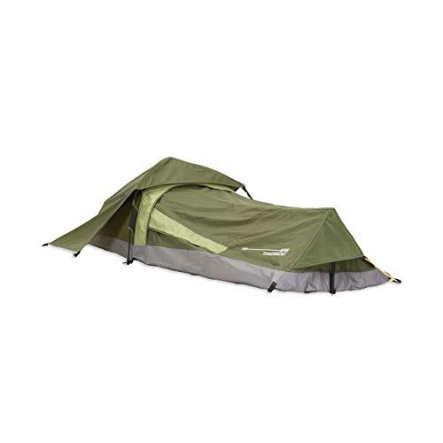 Lumaland Where Tomorrow Solo-Zelt Pop Up Wurfzelt 1-Personen-Zelt - Rechteck - 220x80x50 cm - Camping Festival - Ultraleicht, kleines Packmaß, wasserdicht, robust - Grün
